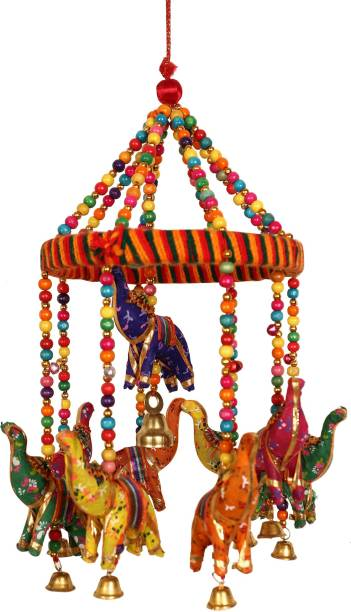 Fashion Art Beautiful /Colorful Elephant Wind Chime /Jhoomer /Wall Hanging / Door Hanging /Handicraft Item For Home Decor / Office Decor /Living Room / Outdoor Hanging /Indoor Hanging Paper Windchime
