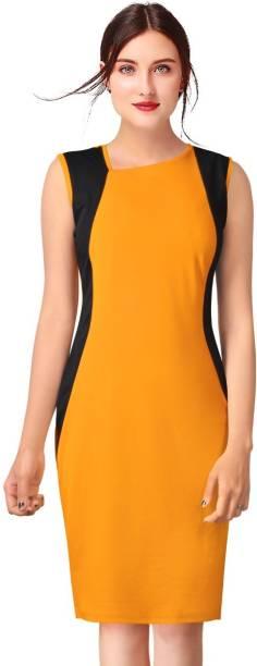 pavitra fashion Women Sheath Yellow Dress