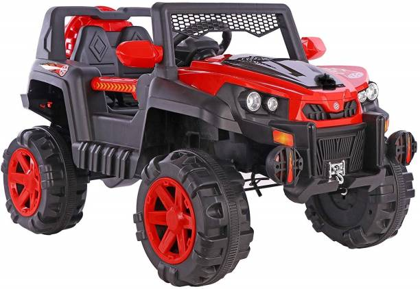 Ayaan Toys Ayaan Toys 6500 Kids Ride on Jeep with 12V Rechargeable Battery, Music, Lights and Remote Control, Red Jeep Battery Operated Ride On