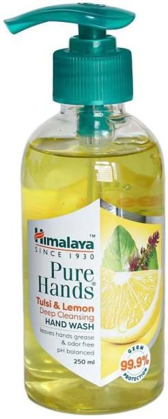 HIMALAYA Pure Hands Deep Cleansing Tulsi and Lemon Pump Dispenser (2 x 250ml) Hand Wash Pump Dispenser