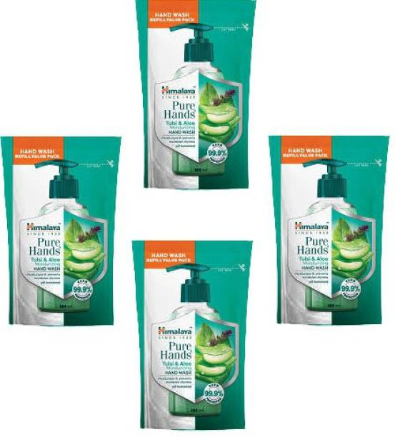 HIMALAYA tulsi and aloe moisturizing hand wash Pouch 185 ml (pack of 4) Hand Wash Pouch