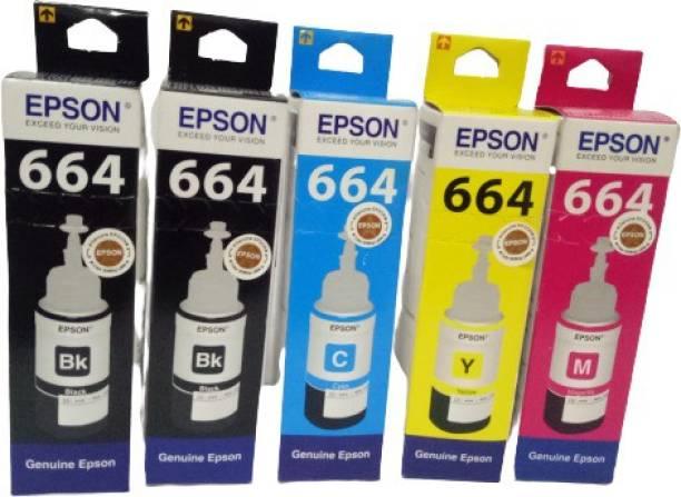 Epson EP-664-5 Black + Tri Color Combo Pack Ink Bottle