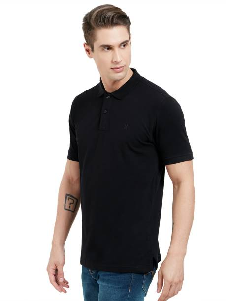 THE PERFECT BLACK Solid Men Polo Neck Black T-Shirt