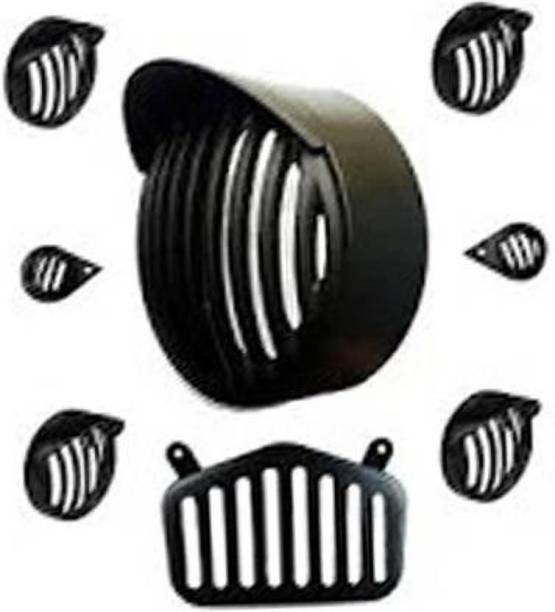 Riya Touch Standard CR004038-Grill Cover Combo For Royal Enfield Bullet standard Bike Headlight Grill
