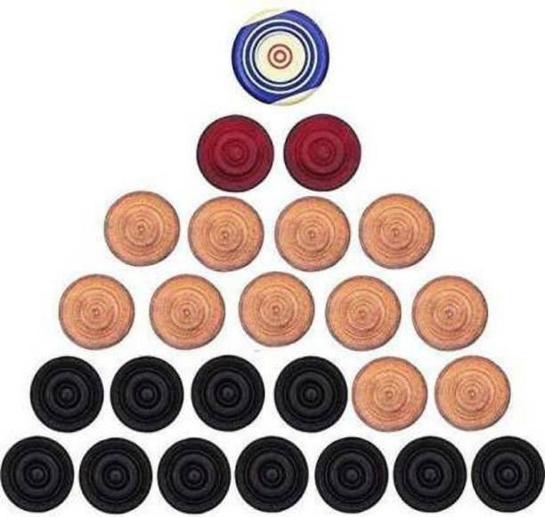 Aakar Enterprises Wooden Carrom Coins with 1 Striker Carrom Pawns