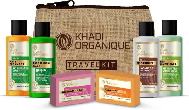 khadi ORGANIQUE Grooming Travel Kit Men & Women (2 Soap X 75gm each, 1 Shampoo 30ml,1 Conditioner 30ml, 1 Moisturiser 30ml, 1 Face Wash 30ml ) 6 pcs in Set