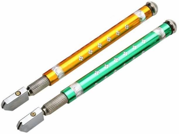 GLAMAXY 12_D Pencil Glass cutter Anti-Slip Professional Glass Cutting Tool - 5mm-15 mm Metal Handle Pencil Style Glass Cutter Tool/Oil Glass Cutting Tools (Multicolors) Glass Cutter