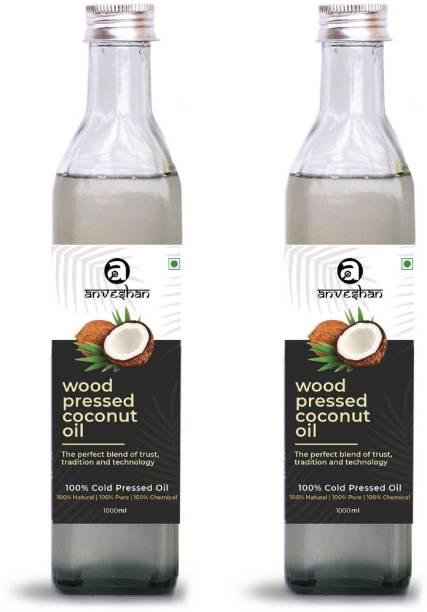 Anveshan Wood Pressed Coconut Oil (Kacchi Ghani/ Kolhu/ Chekku) 1Litre Glass Bottle (Pack of 2) Coconut Oil Glass Bottle