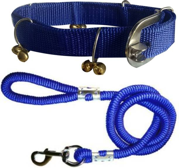 BODY BUILDING Dog Belt Combo of Blue Ghungroo Collar with Blue Lead 1.5m Lengthy Dog Collar & Leash