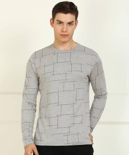 Billion Printed Men Round Neck Grey T-Shirt
