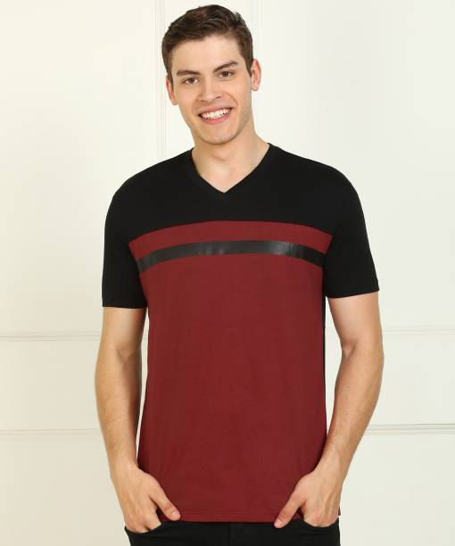 Billion Color Block Men V Neck Maroon, Black T-Shirt