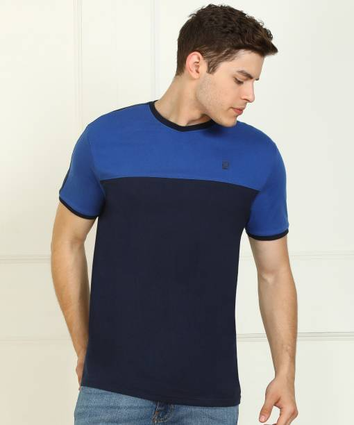 Billion Color Block Men Round Neck Blue, Dark Blue T-Shirt