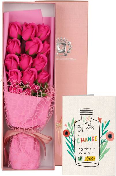 TIED RIBBONS Womens Day Gift for Wife Colleagues Employees Sister Gilfriend (Bouquet of Scented Rose Flowers with Greeting Card) Multicolor Rose Artificial Flower