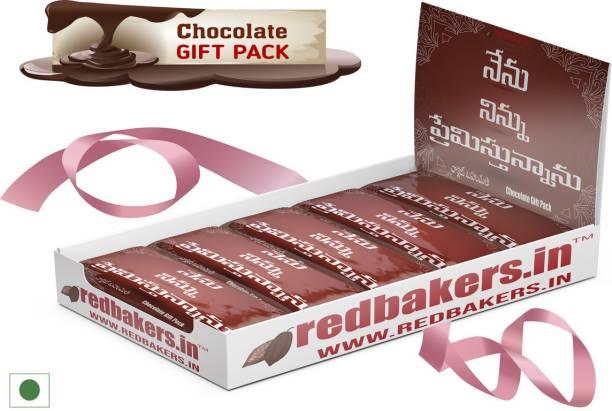 redbakers.in I Love You Telugu 5 Chocolates Gift Pack Bars