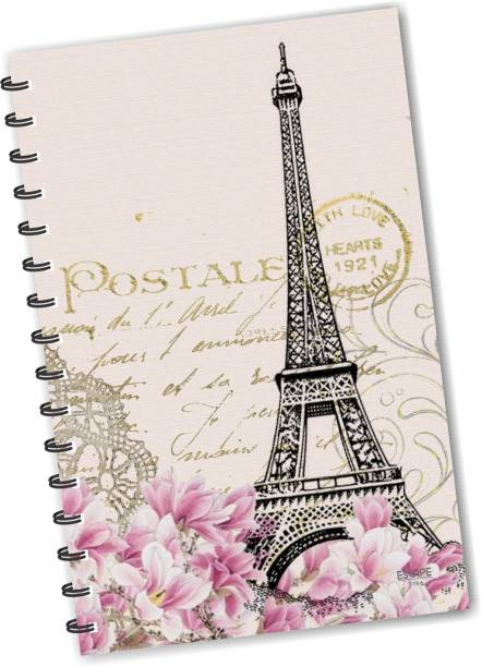 ESCAPER Cream Eiffel Tower Paris Vintage Diary (RULED), Designer Diary, Vinatage Diary, Journal, Notebook, Notepad A5 Diary Ruling 160 Pages