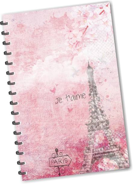 ESCAPER Pink Eiffel Tower Paris (RULED) Designer Diary, Journal, Notebook, Notepad A5 Diary Ruling 160 Pages