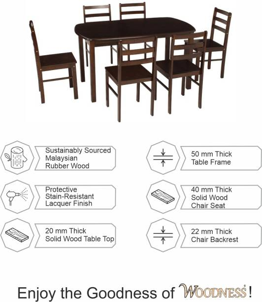 WOODNESS Montana Solid Wood 6 Seater Dining Set
