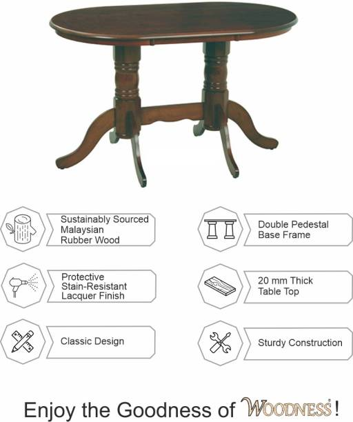 WOODNESS Solid Wood 4 Seater Dining Table