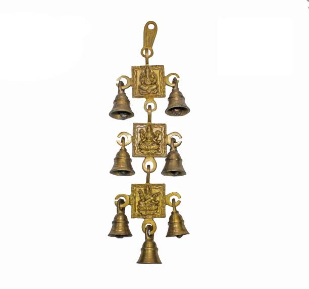 NATHAM Ganesh, Laxmi & Sarwati ji Brass Wall Hanging Bells Decorative Showpiece Brass Decorative Bell