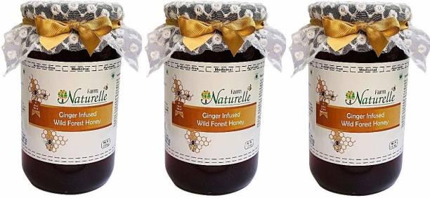 Farm Naturelle Real Ginger Infused Forest Honey (1 Kg x Pack of 3 )-Immense Medicinal Value