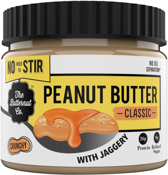 The Butternut Co. Peanut Butter Classic (With Jaggery) Crunchy, 340 gm (No Added Sugar, Vegan, High Protein, Keto) 340 g