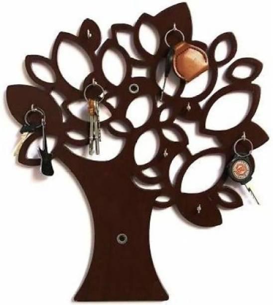 ONLINECRAFTS Decorative wooden wall key holder ( 8 hooks brown) Wood Key Holder