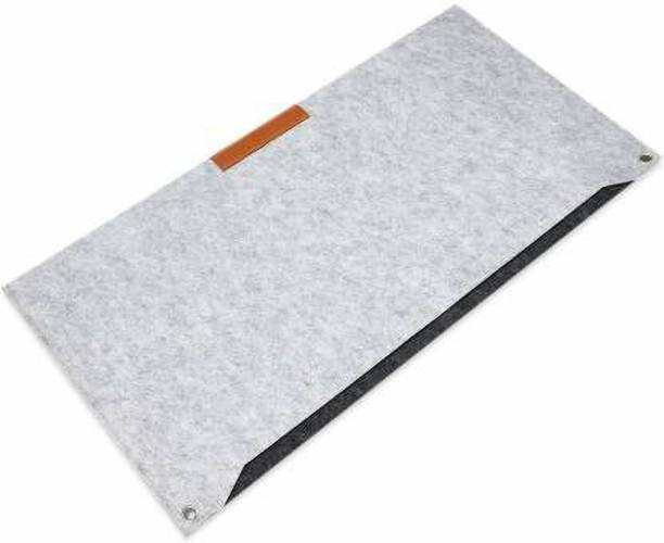 nivera Large PU Felt Laptop Desk Mate, Extended Gaming Mouse, Keyboard Pad, Desk Mat for Office, with Pen & Paper Pocket (Grey) Mousepad