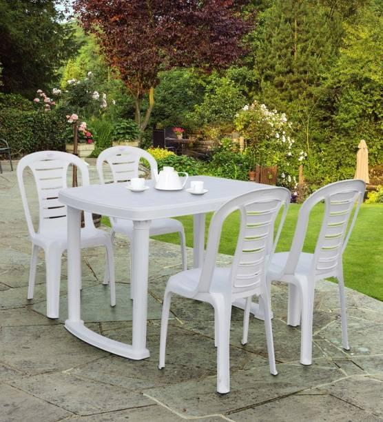 Petals White Plastic Table & Chair Set