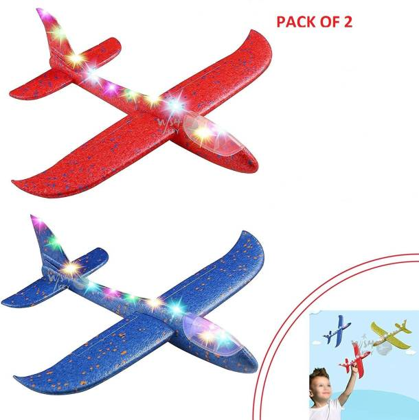 Shopme Store Airplane pack of 2 Large Throwing Foam Plane with Led Flashing Light, Dual Flight, Aeroplane , Flying Aircraft, Gifts for Kids Boy&Girls (Dispatch According to Stock Availability)