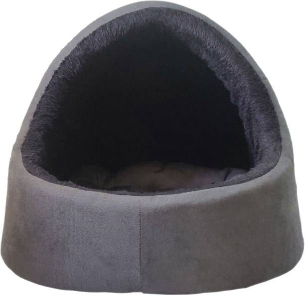 Dogerman Luxurious Velvet/Fur Fabric Dual Grey Black color Full Size Cat Pet Large Bed M Pet Bed
