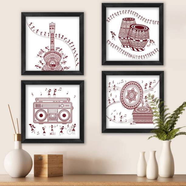 "Music Lovers Wall Decoration Poster Frames 6""x6"" Set of 4_I-PSFSWBK04SQ06-FFNI19031 Paper Print"