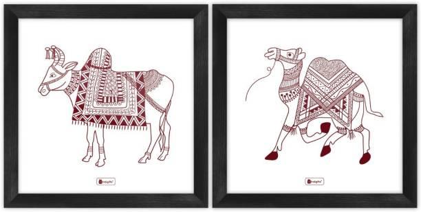 "Wall Decor For Living Room Ethnic Design Digital Print Poster Frames 8""x8"" Set of 2_I-PSFSWBK02SQ08-FFNI19034 Paper Print"