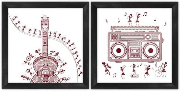 "Wall Decor For Living Room Ethnic Design Digital Print Poster Frames 6""x6"" Set of 2_I-PSFSWBK02SQ06-FFNI19037 Paper Print"