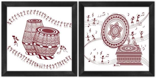 "Wall Decor For Living Room Ethnic Design Digital Print Poster Frames 8""x8"" Set of 2_I-PSFSWBK02SQ08-FFNI19038 Paper Print"