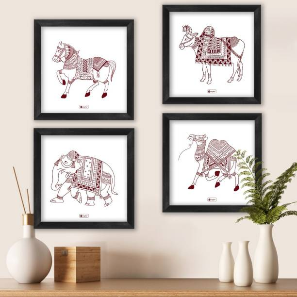 "Wall Decor For Living Room, Home Decoration Frames, Animal Theme Digital Print Poster Frames 8""x8""_I-PSFSWBK04SQ08-FFNI19029 Paper Print"