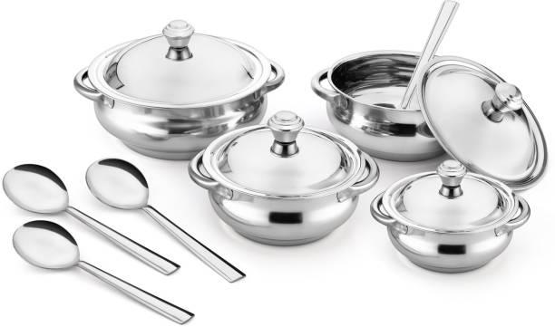 Jensons Silver 4 Handi with lid + 4 Serving Spoon Bowl, Spoon Serving Set
