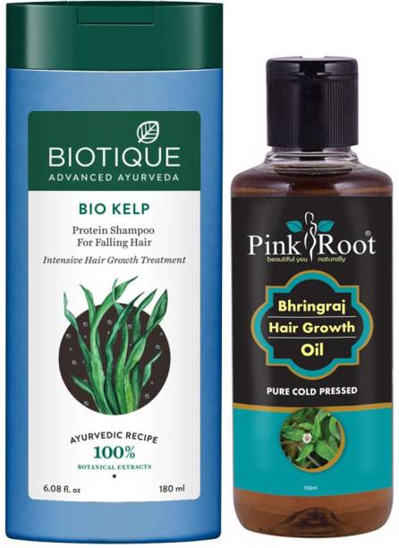 PINKROOT Bhringraj Oil 100ml with Biotique Kelp Shampoo 180ml
