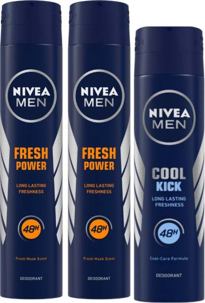 NIVEA MEN Deodorant, Fresh Power, 200ml & MEN Deodorant, Cool Kick, 150ml (Pack of 3) Body Spray  -  For Men