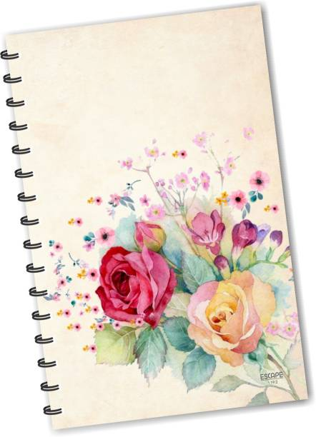 ESCAPER Red Roses Yellow Roses (RULED) Designer Diary, Journal, Notebook, Notepad A5 Diary Ruling 160 Pages