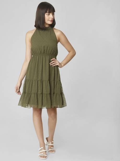 VERO MODA Women Fit and Flare Green Dress