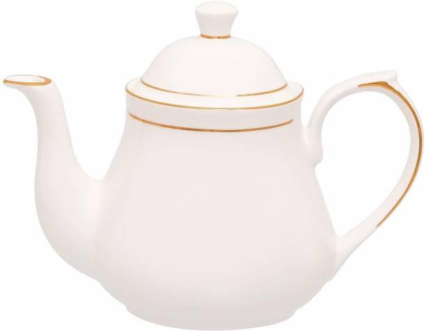Femora 1 L Tea Femora Indian Ceramic Fine Bone China 1 L Water Gold Line Tea Pot & Kettle for Home -1000 ML (1pc) Jug Carafe