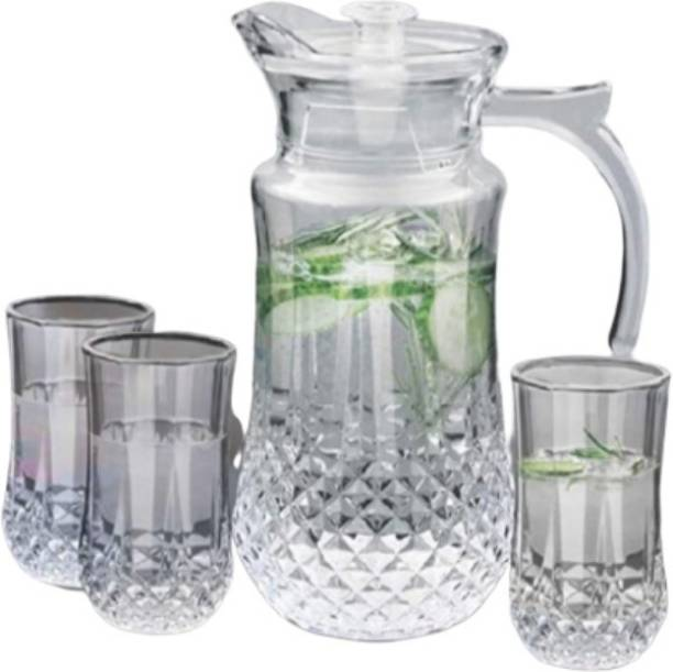 Joy2u 1.47 L Water Imperial Lemon Set with Glass Water Jug, 1470 ml with Lid and 240 ml, 6 Glass Set (Clear) Jug