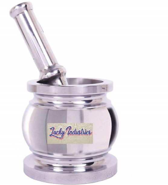 lucky industries Heavy Gauge Aluminium Kitchen khalbatta / Okhli Masher / Mortar and Pestle Set, size : BIG Aluminium Masher