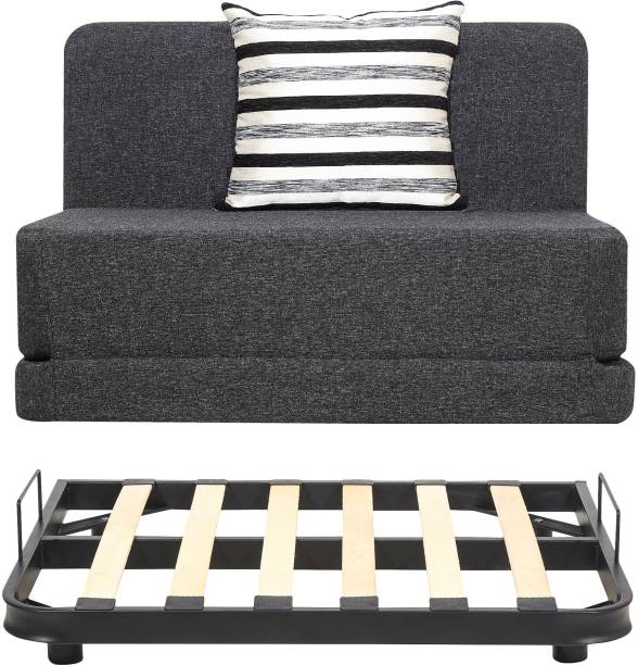 uberlyfe Sofa Cum Bed with Metal Frame for Living Room with Jute Fabric Washable Cover with 1 Striped Black Patterned Cushion (Dark Grey, 3 X 6 ft) Single Metal Sofa Bed