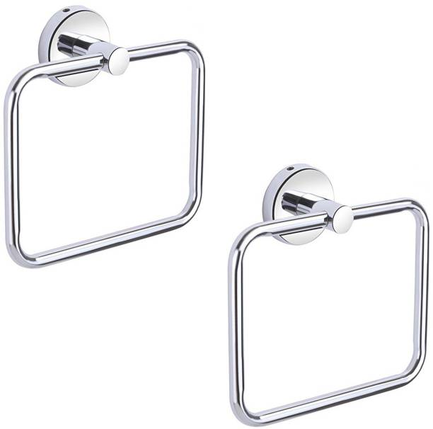 iSTAR Square Pipe ring Stainless Steel Towel Ring/Napkin Ring/ Bathroom Towel Holder/Towel Hanger with Chrome Finish Pack of 2 Silver Towel Holder