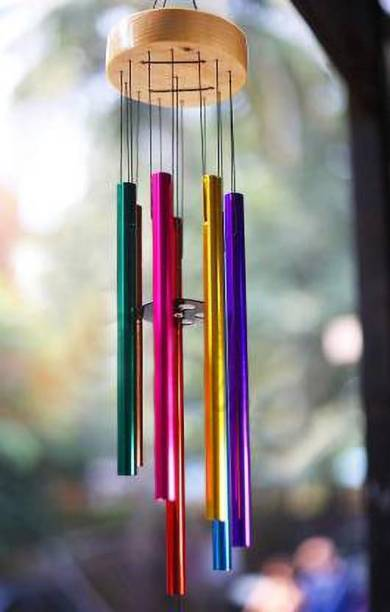 shanol colorful Wind Chimes For Home decoration and Positive Energy feng shui item Lovely Color Pipes Windchimes For Balcony Room Bedroom (Assured Good Sound) Aluminium Windchime(28 inch, Multicolor) wind chime for home decoration Steel Windchime
