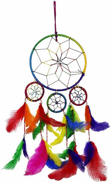 Ryme Car and Wall Hanging 4 Rings Multi Color Dream Catcher Wool Windchime