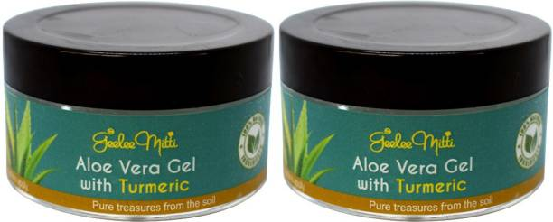 Geeleemitti Aloe Vera Gel with Turmeric for Face Care, Fairness, Beautification, Anti-Ageing Effects, Acne & Scar Removal Combo Pack of 2 x 75 g