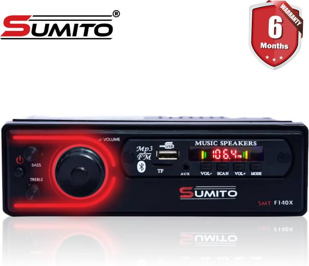 Sumito SMT-F140X Double IC High Power Single Din Universal Fit Mp3 Car Stereo with Bluetooth/USB/SD Card Slot/FM Radio/Aux Input & Remote Control SMT-F140X Car Stereo