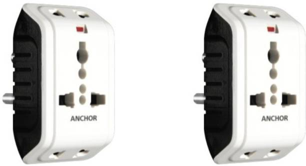 ANCHOR Multi-Plug Universal Multi Plug Adaptor with Indicator - Pack of 2 Three Pin Plug